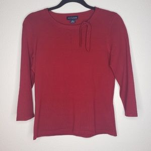 Ann Taylor Red Three Quarter Sleeve Silk Blouse